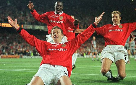 26 May 1999 : The moment that Ole Gunnar Solskjær (Manchester United FC, 1996–2007, 235 apps, 91 goals) became a United icon. Deployed as a late substitute, he delivered another decisive goal, scoring a dramatic injury-time winner and the 2nd goal for ManU to secure the 1999 Champions League Cup (Manchester United vs Bayern Munich 2-1).