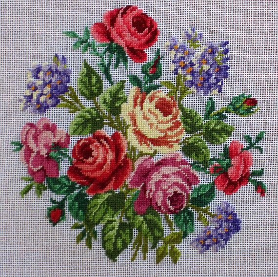 Red Roses and Purple Violets - Hand stiched in Babs Fuhrmann Petit Point Design - Can/US Free Shipping
