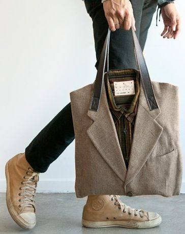Upcycled Suit Tote de Poketo