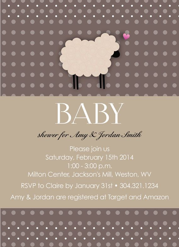 adorable sheep baby shower invitation customizable to your event on