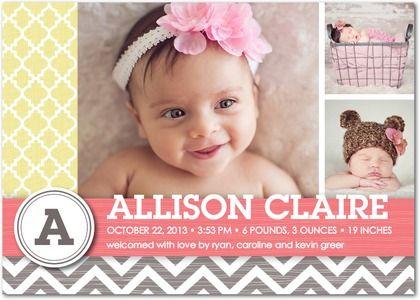 Girl Photo Birth Announcements