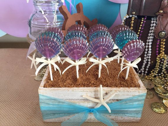 12 CLAM SHELL Lollipops - Mermaid Party, Ariel Party, and Beach Party Favors
