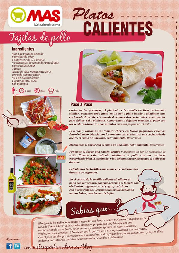 Para comer hoy, nada como estas deliciosas Fajitas de pollo mmm... :) #InfoRecetas #Recetas
