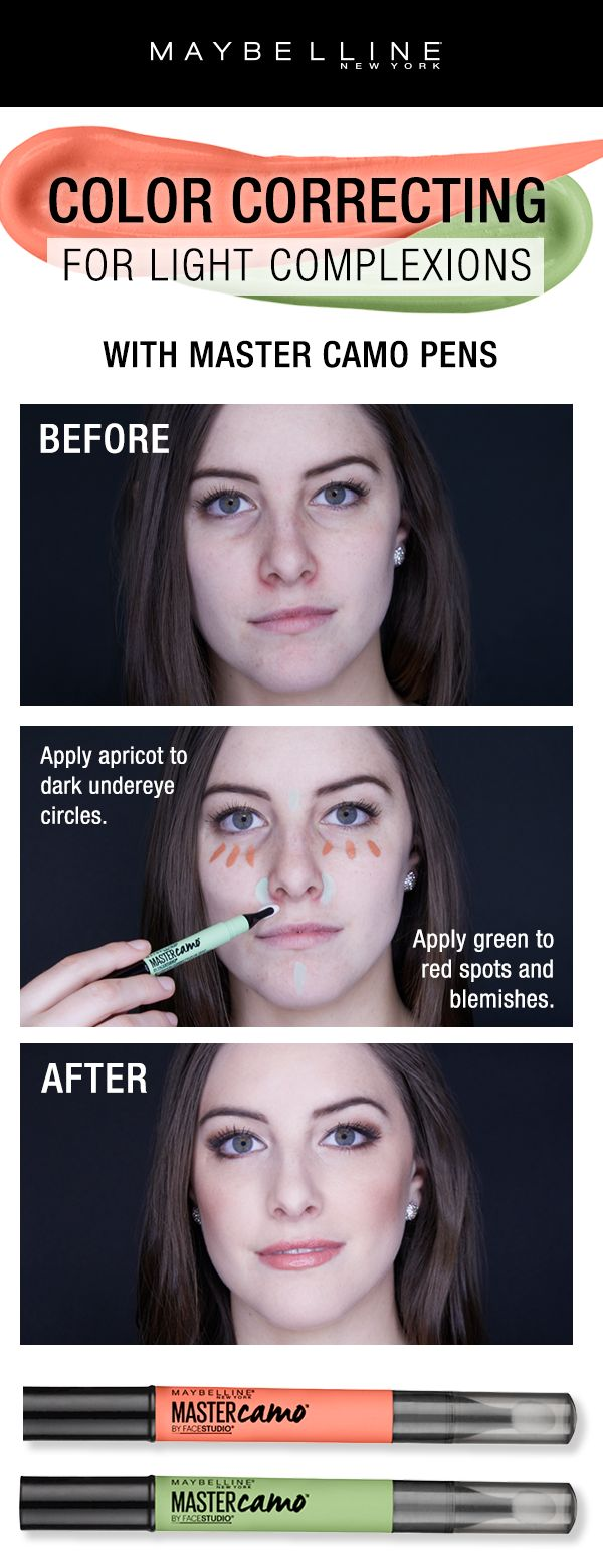 Color correcting is easier than ever with the NEW Maybelline Master Camo Pens!  For color correcting on light complexions, use the 'Apricot' shade to correct dark under eye circles and the 'Green' shade to red spots and blemishes.  Blend apply your favorite foundation for a flawless canvas for any makeup look.
