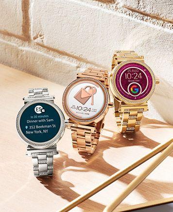 7a050168cdc9 Michael Kors Access Women s Sofie Rose Gold-Tone Stainless Steel Bracelet  Touchscreen Smart Watch 42mm