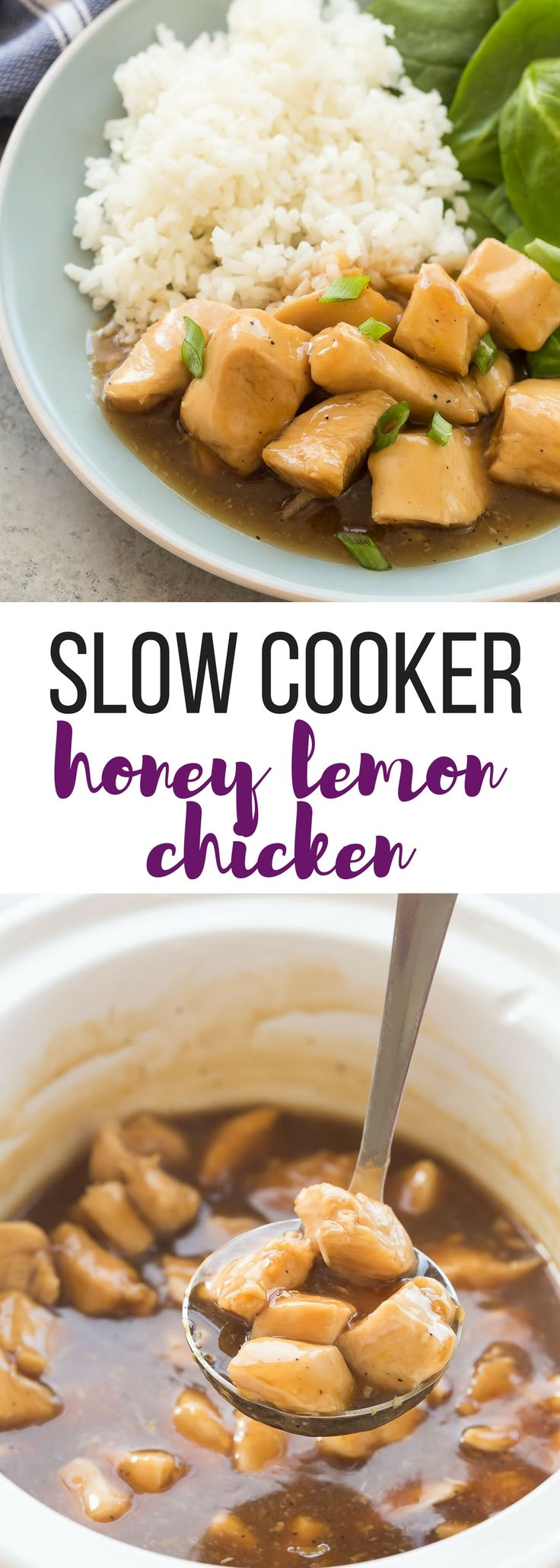 This Slow Cooker Honey Lemon Chicken is a little sweet, a little tangy and perfect over rice or noodles! It's an easy crockpot meal for those busy days! Includes step by step recipe video.   crockpot dinner   crockpot recipe   crock pot   slow cooker recipe   easy dinner   healthy dinner   low calorie   healthy diet #slowcooker #crockpot #chickenrecipe