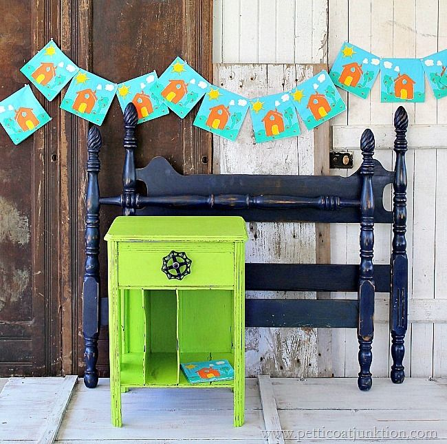 painted furniture. Bright green nightstand and blue bed perfect for a child's room. I distressed the nightstand using Simple Green and a damp rag. @simplegreen