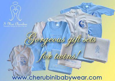 #twins #babywear #gift #organic #blue #gemelli #neonati #regali #organico #kids www.cherubinibabywear.com