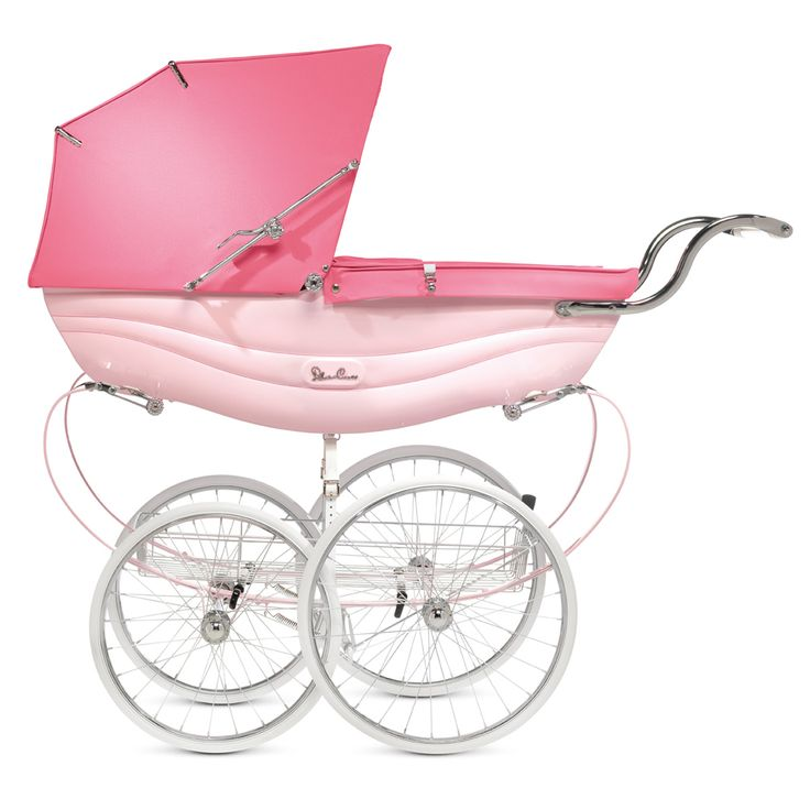 The Silver Cross Balmoral coach-built pram, looking perfect in pink.