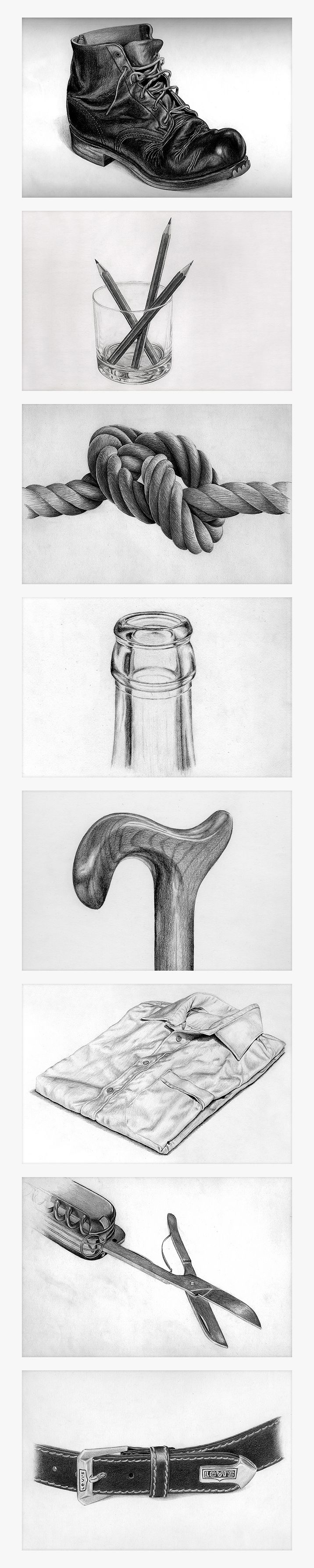 "Pencil Drawing ""Found object"" sketching exercise"