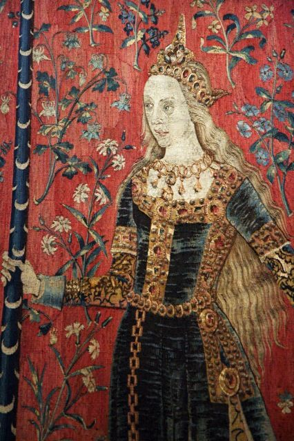 """Touch"" panel detail from ""The Lady and the Unicorn Tapestry"" (La Dame à la licorne), Flanders, XV century, Hôtel de Cluny, Paris."