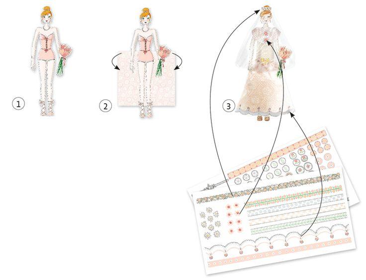 Menyasszonyi ruhák- divattervező készlet a nagy napra (Djeco)   Pandatanoda.hu Játék webáruház