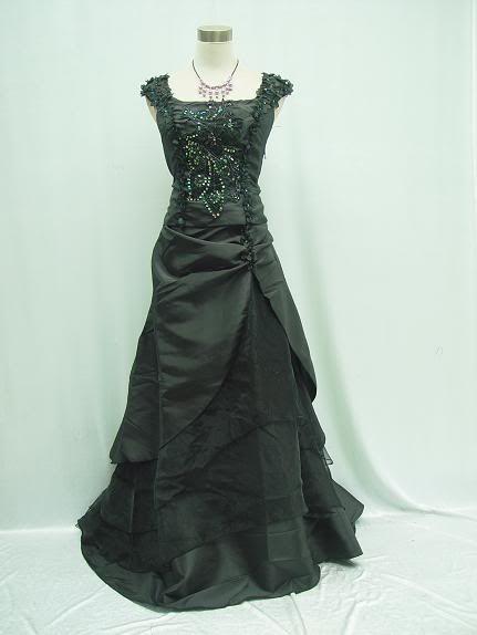 Cherlone plus size satin black ball gown wedding evening for Plus size gothic wedding dress