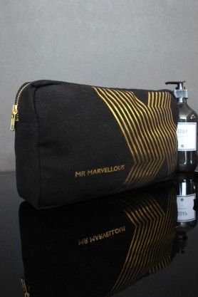 'Mr Marvellous' Black Canvas Wash Bag