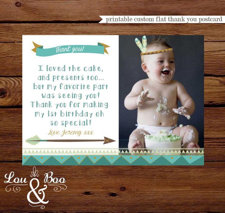 first birthday invitation wordings india%0A Boho tribal foxy birthday THANK YOU POSTCARD boho tribal foxy arrow and  feathers thank you card