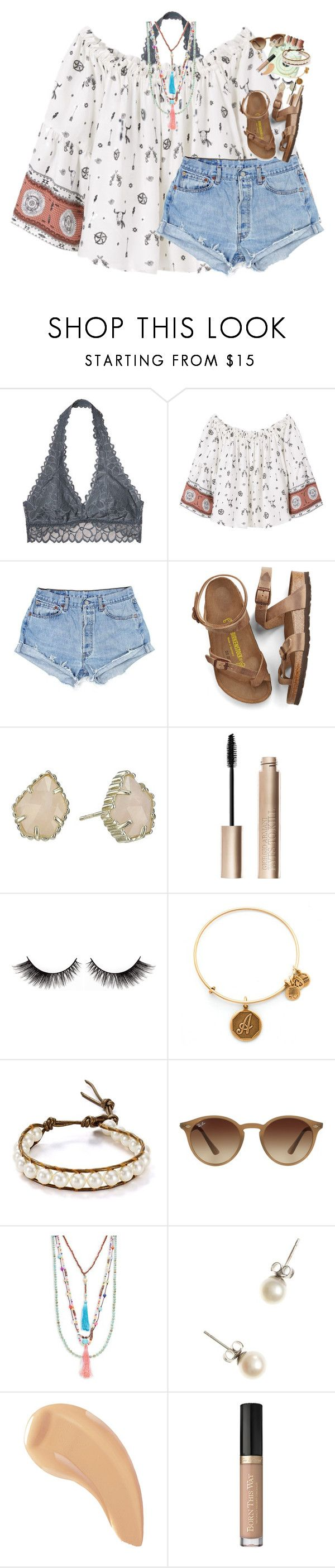 """fr this is so messy but idec"" by classynsouthern ❤ liked on Polyvore featuring Victoria's Secret, MANGO, Birkenstock, Kendra Scott, Giorgio Armani, Fuji, Alex and Ani, Chan Luu, Ray-Ban and Panacea"