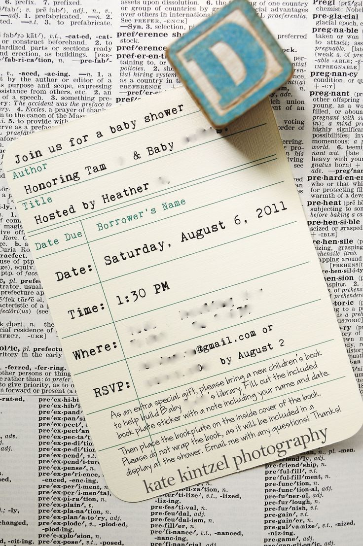 Link For Digital Download Of Library Card · Library Baby ShowersBook ...