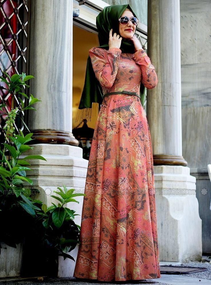 Leopard Patterned Dress - Orange - Gamze Polat