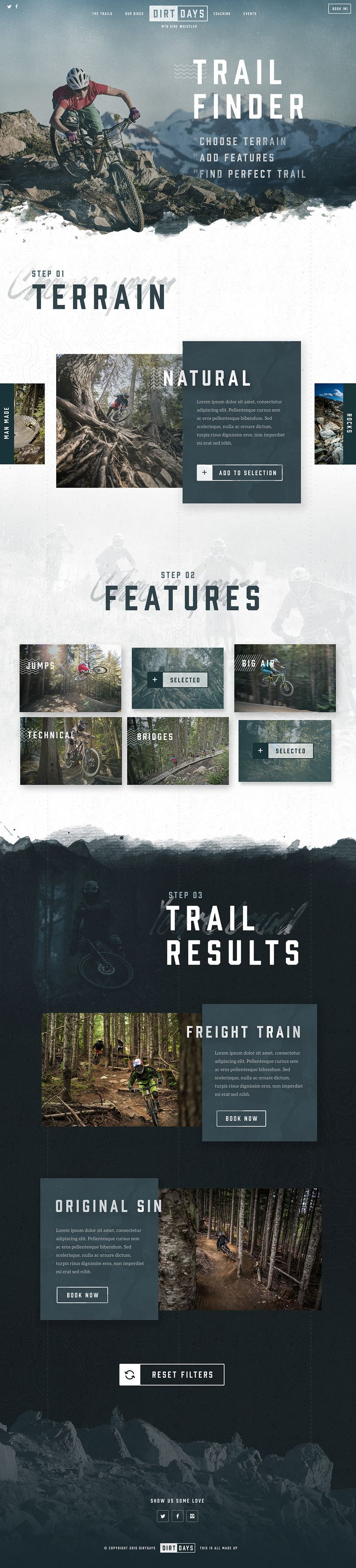 A conceptual web design project I created for a feature in Net Magazine. The brief was to design a bike hire website for a fictional company in a location of my choice. I chose Whistler for it's stunning scenery and world renowned mountain biking trails.