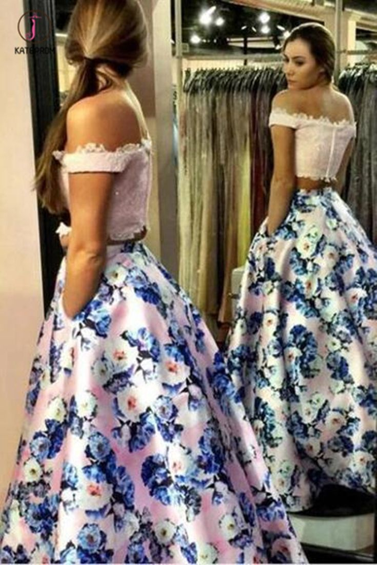 Two Piece Off The Shoulder Pink Floral Long Prom Gown A Line Formal Dresses With Lace Kpp0376 Floral Prom Dresses Prom Dresses Two Piece Pink Prom Dress [ 1102 x 735 Pixel ]