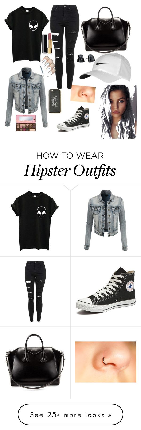 """""""Everyday look"""" by awkkxarii on Polyvore featuring Topshop, LE3NO, Converse, Givenchy, NIKE and Chanel"""