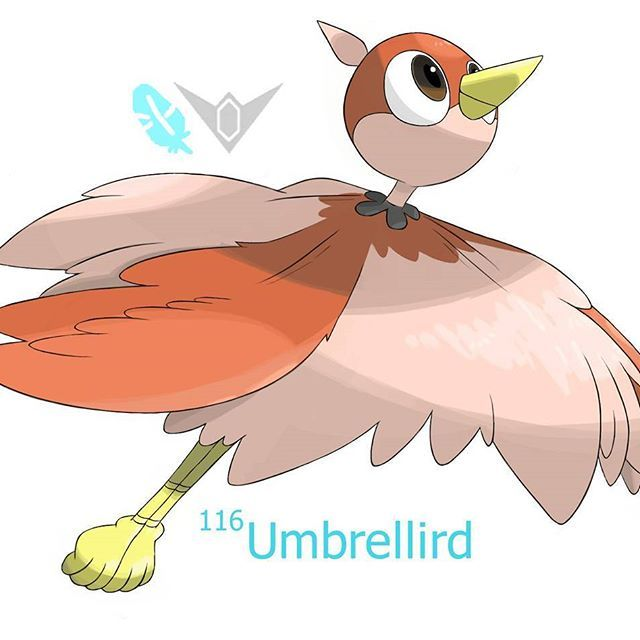 Protecting people and Pokemon alike all around the Funul region is the utterly selfless Flying/Valiant Umbrellird. This relatively thin bird can outstretch it's wings to a width of 15 feet making it look like a fairly large Pokemon. Umbrellird will use this to swoop in and shield others from danger. These Pokemon are found mostly around Funul's volcano and are constantly keeping watch to make sure those that dwell in the area are always kept safe. In battle Umbrellird will use their wide ...