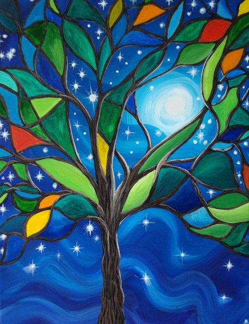 Stained glass tree, this would be awesome as a big picture window.