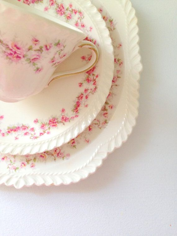 Antique American Made Harker Royal Gadroon Bridal Rose Pattern Teacup, Saucer and Plate Trio Tea Party Cottage Style Table Decor on Etsy, $55.00