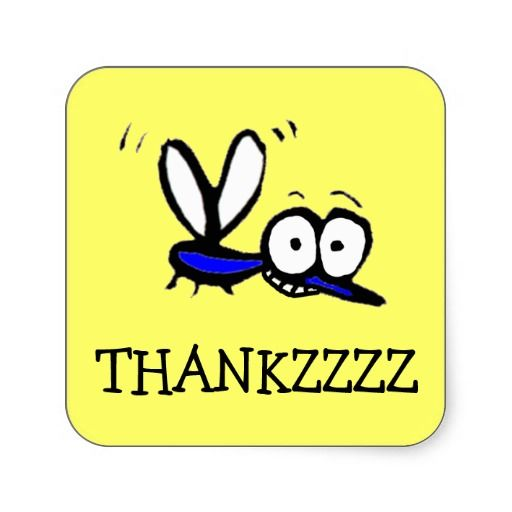 cartoon mosquito thank you sticker by Sallylux