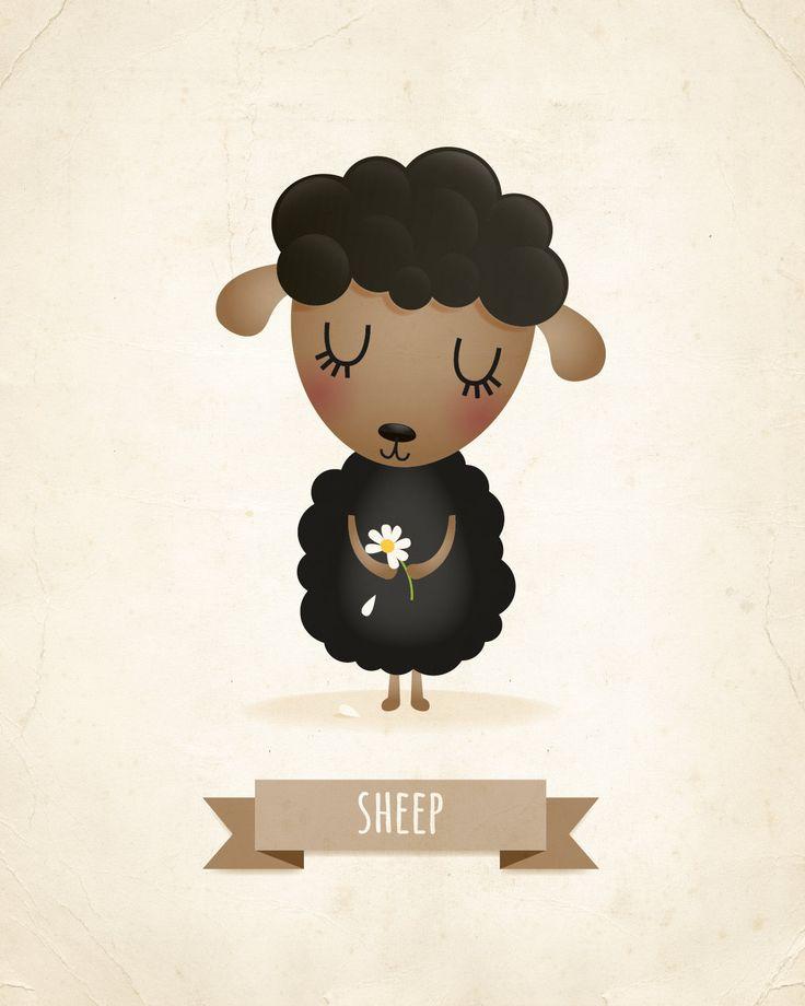 Sheep art print nursery decor nursery illustration animal