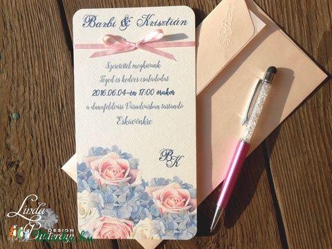 Esküvői meghívó, Keresztelő lap, Kék Hortenzia, Virágos, Nyári Virág, Esküvői képeslap, Hortenzia, rózsa (LindaButtercup) - Meska.hu