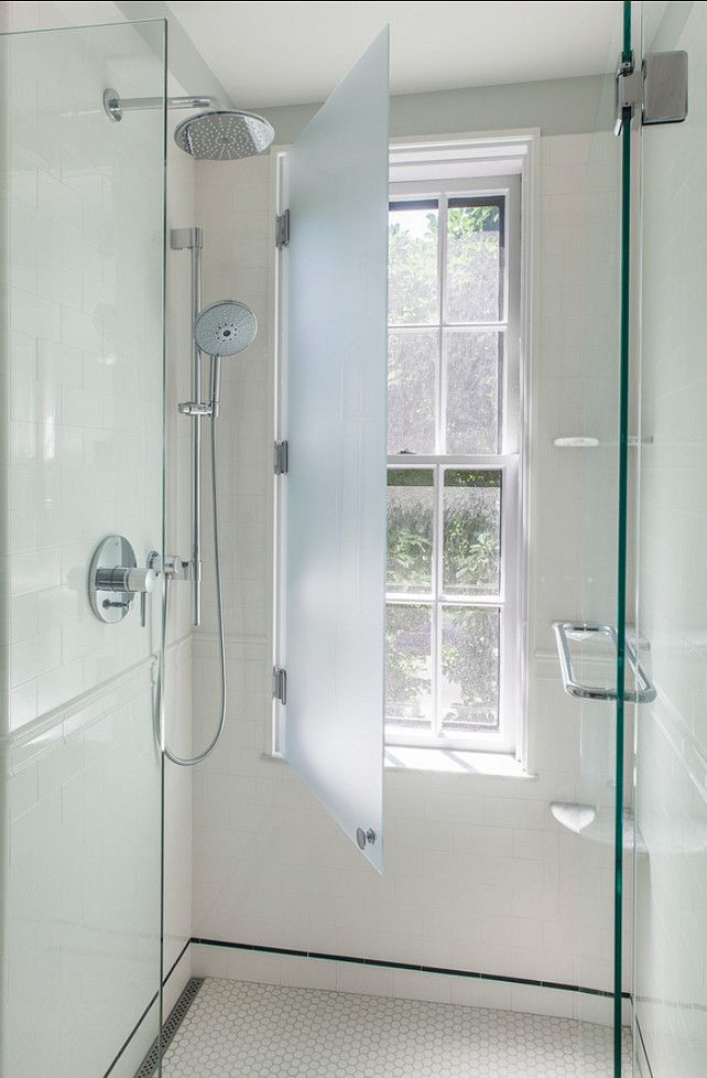 Cover up a window that has been oddly placed inside your shower or tub area. Great idea! Frosted glass window.