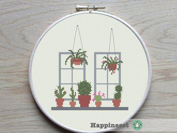 cross stitch pattern cactus modern cross stitch by Happinesst