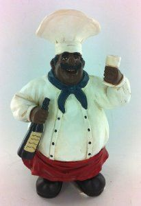 Amazon.com: Fat Chef Kitchen Statue African American Holding Wine Table Top  Art Figurine