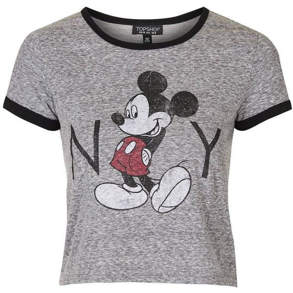 TopShop Mickey Mouse New York Tee (£19) ❤ liked on Polyvore featuring tops, t-shirts, tees, grey marl, relaxed tee, gray top, gray t shirt, mickey mouse t shirt and slouchy t shirt
