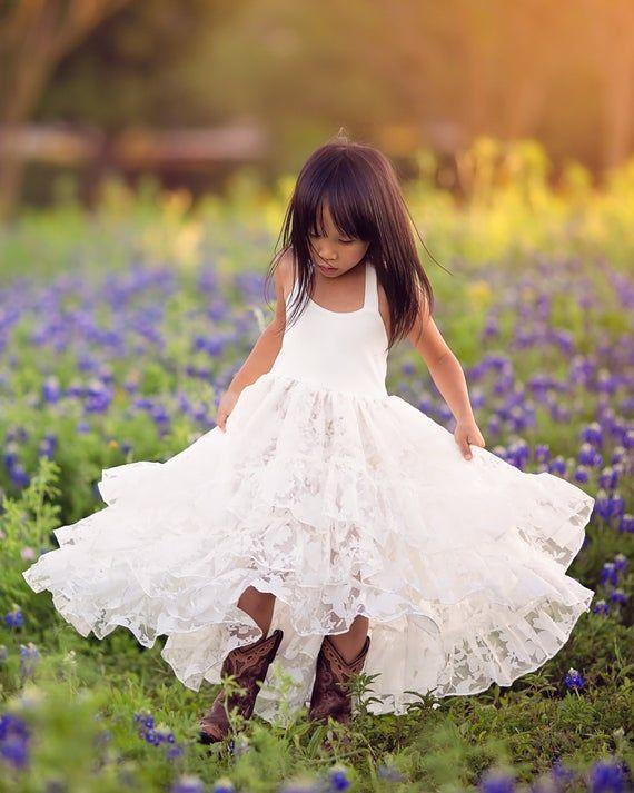 Sister Set Flower GirlMatching sisters flower girl DressesWhite Lace Flower Girl DressFlower Girl White Lace DressBoho flower girl dress