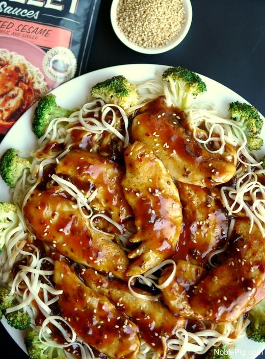 Chicken with Toasted Sesame Skillet Sauce – You can make everything pictured here in less than 20 minutes! It's a life saver on busy weeknights, and it tastes great! Recipe and photo by blogger at NoblePig.com