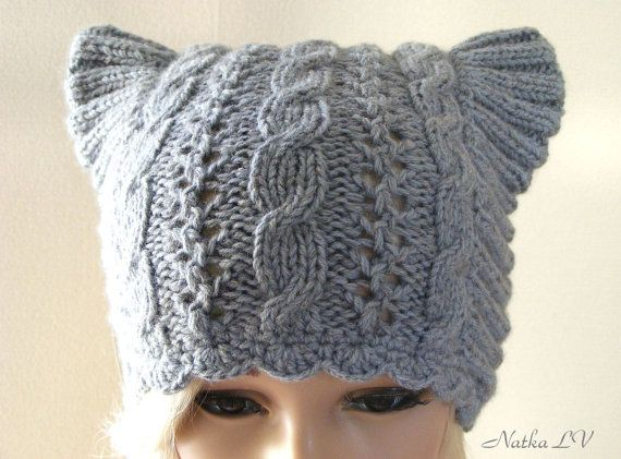 Knit cat hat, light grey cat ear hat, women's knitted hat, knit cable beanie, animal hat, hat with horns, light grey gray, gift for her