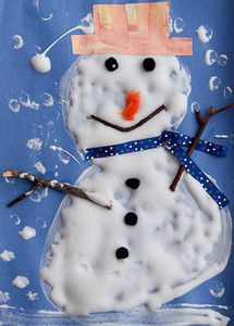 Puffy Snowmen: My kids had so much fun creating these puffy paint snowmen. The paint, puffs up as it dries.