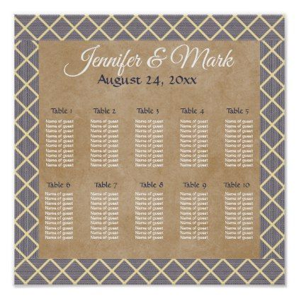 Rustic  Slate Gray and Taupe wedding seating chart - retro gifts style cyo diy special idea