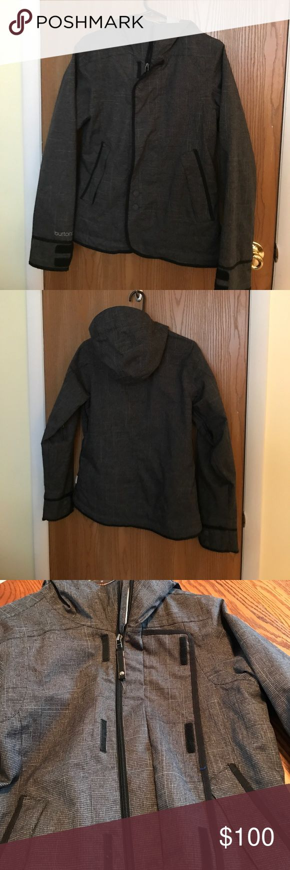 Burton Dryride ski jacket Charcoal and black, hooded Burton Ski jacket with zip and Velcro closure. Adjustable waist. Burton Jackets & Coats Utility Jackets