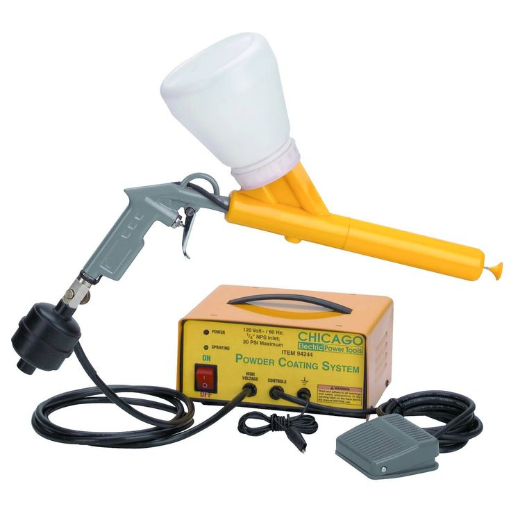This easy-to-use powder coating gun provides a finish that is tougher than conventional paint. Just fill the tool with any standard powder coating paint and you're ready to go.  Uses any standard powder coating paint  Includes powder coating gun, foot switch, power source, inline filter and two powder cups  Requires 10-30 PSI air pressure. Harbor freight also carries powder coat paint in red, white, black and yellow.