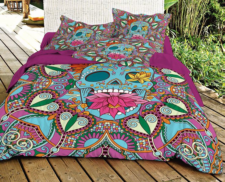 Blue Sugar skull bedding set skull duvet cover with cotton sheet and matching two skull pillow covers - My Sugar Skulls