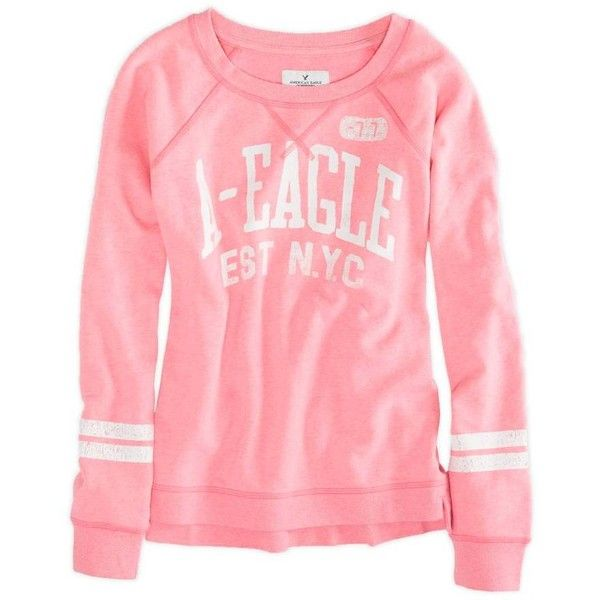 American Eagle Factory Crew Sweatshirt ($30) ❤ liked on Polyvore featuring tops, hoodies, sweatshirts, sweaters, pink, crew neck sweatshirts, american eagle outfitters, red top, crew neck top and american eagle outfitters top