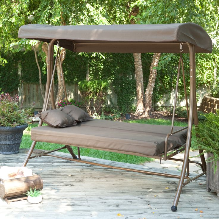 Coral Coast Siesta 3 Person Canopy Swing Bed   Chocolate   Porch Swings At  Hayneedle