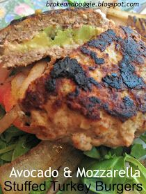 Broke and Bougie: Clean Eating Burgers: Avocado & Mozzarella Stuffed Turkey Burgers
