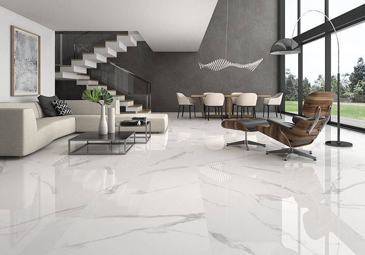 White Soul. Polished Porcelain 90x90. A current view of neutral Italian marble calcatta that sets new standards in styles and trends while maintaining all its prestige and quality.