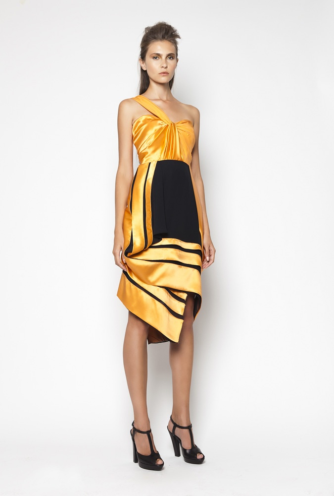 CHRISTOS COSTARELLOS SS12 Silk Satin Dress