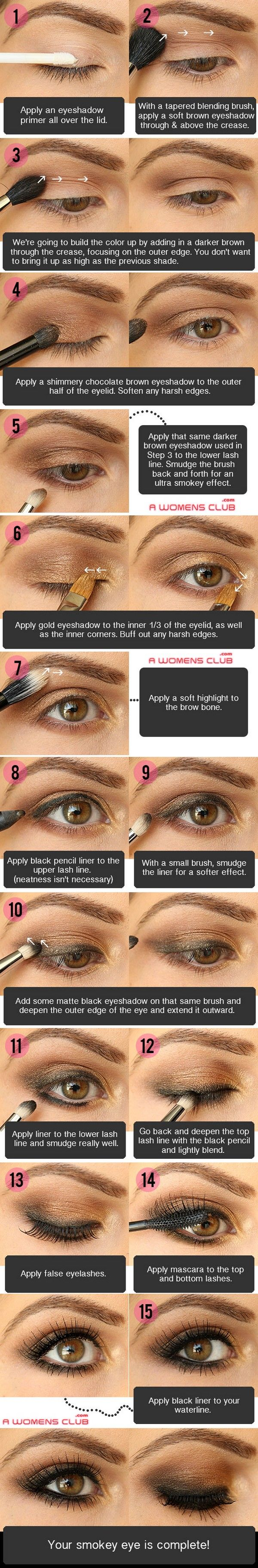 Step by Step Smokey Eye Tutorials - Bronze Smokey - Step by Step Tutorials on How to Apply Different Eyeshadows for Smokey Eyes - Awesome Looks for Brown, Black, and Blue Eyes, Natural Looks, and Looks for All Types of Lashes - thegoddess.com/step-by-step-smokey-eye