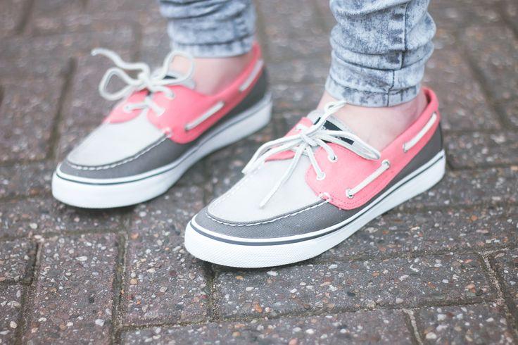Sperry - grijs/roze bootschoenen €69,99